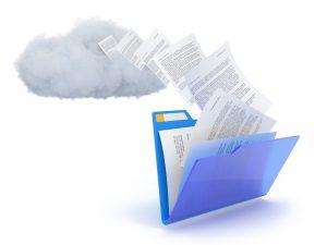 Blue folder with cloud.